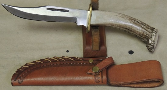 Custom Stag Handled Fighter Style Knife & Leather Sheath