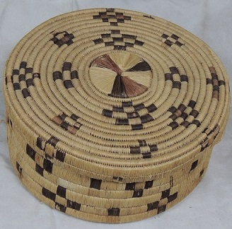 Antique Tohono O'odham Papago Indian Large Hanging Basket & Lid