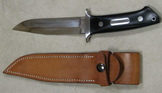 "Thad Buchanan Custom ""Fighter Model\"" Knife & Leather Sheath"