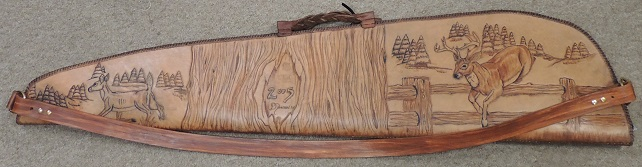 Limited Edition White-Tail Deer Hand Tooled Leather Rifle Case