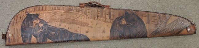 Limited Edition Black Bear Hand Tooled Leather Rifle Case